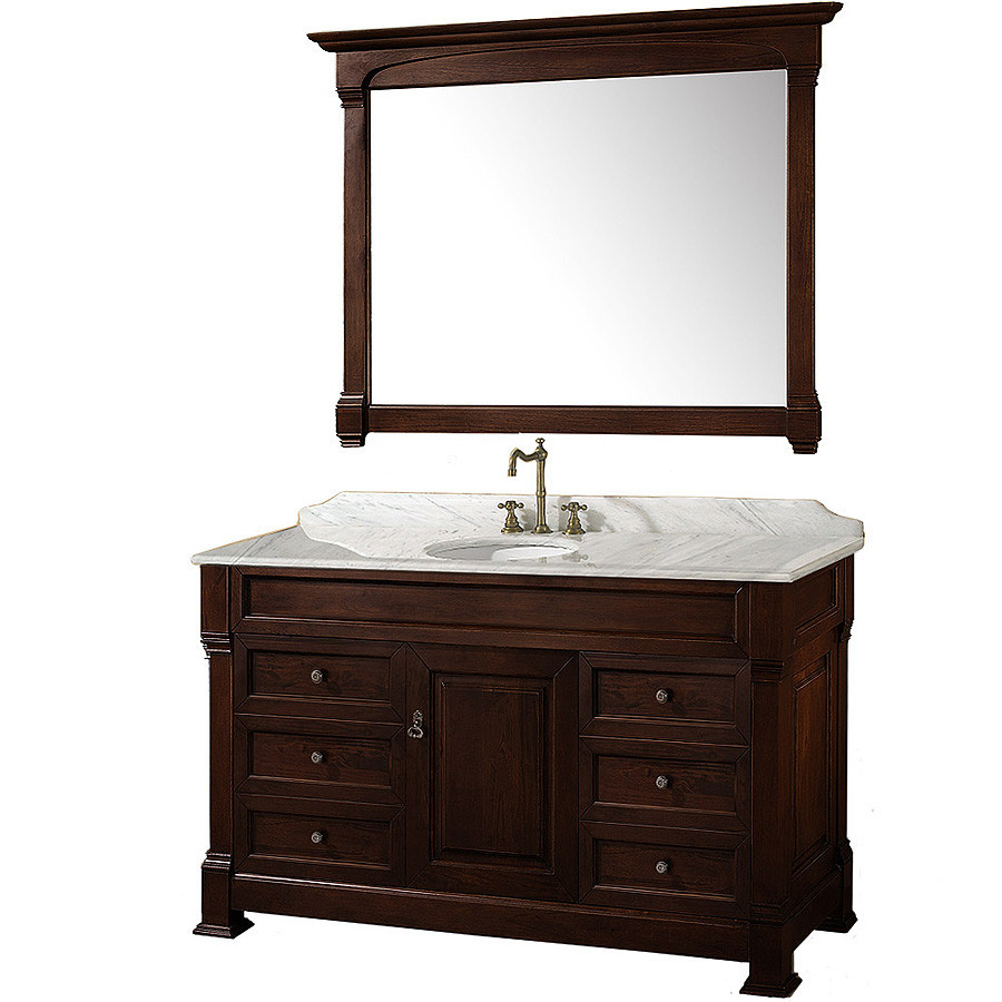 "Andover 55"" Single Bathroom Vanity in Dark Cherry, Undermount Oval Sink, and 50"" Mirror with Countertop Options"