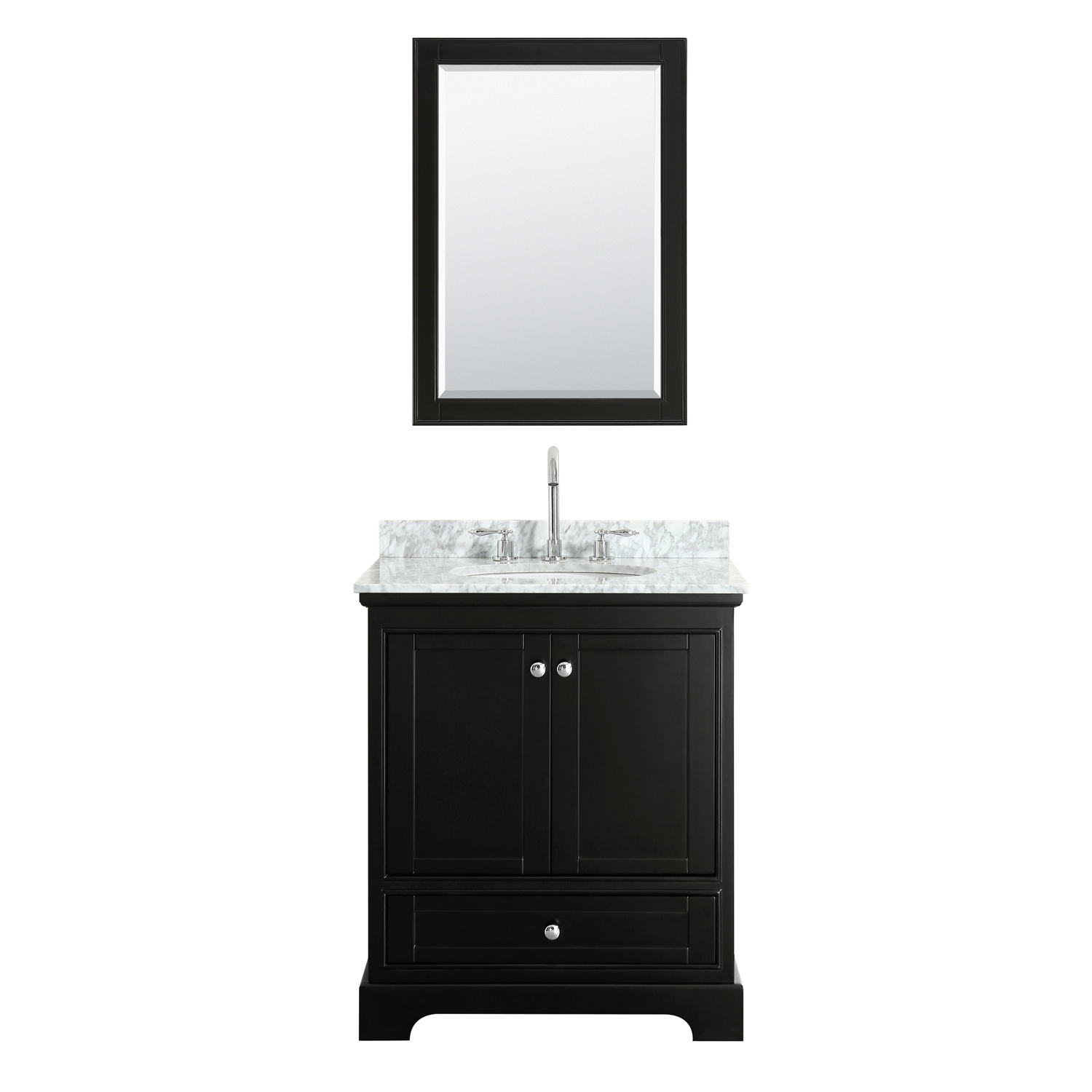 """30"""" Single Bathroom Vanity in White Carrara Marble Countertop with Undermount Porcelain Sink, Medicine Cabinet, Mirror and Color Options"""