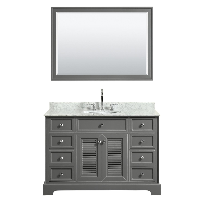 "48"" Single Bathroom Vanity in White Carrara Marble Countertop with Undermount Sink, Medicine Cabinet, Mirror and Color Options"