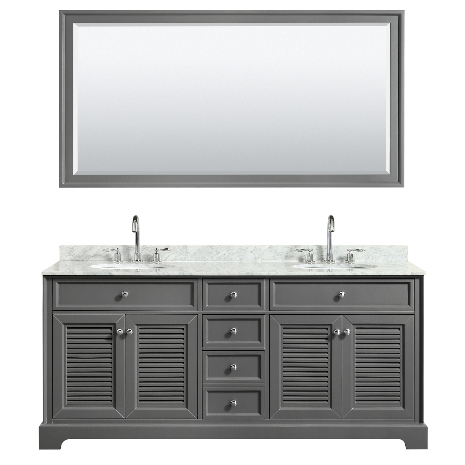 """72"""" Double Bathroom Vanity in White Carrara Marble Countertop with Undermount Sinks, Medicine Cabinet, Mirror and Color Options"""