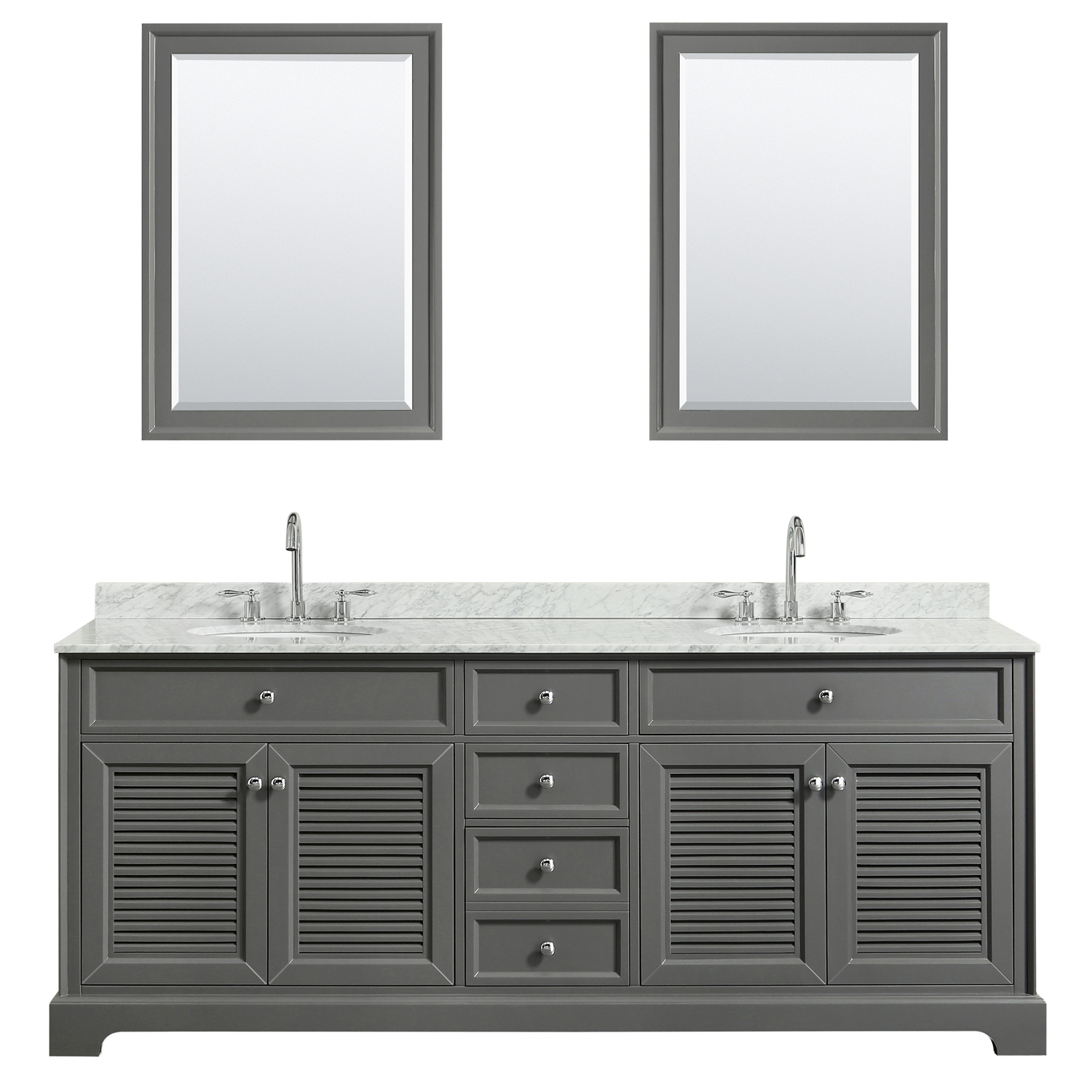 """80"""" Double Bathroom Vanity in White Carrara Marble Countertop with Undermount Sinks, Medicine Cabinet, Mirror and Color Options"""