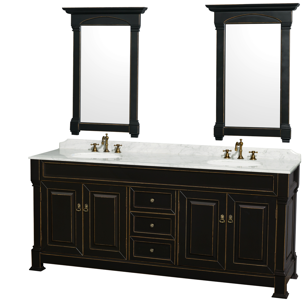 """Andover 80"""" Double Bathroom Vanity in Black, Undermount Oval Sinks, and 28"""" Mirrors with Countertop Options"""