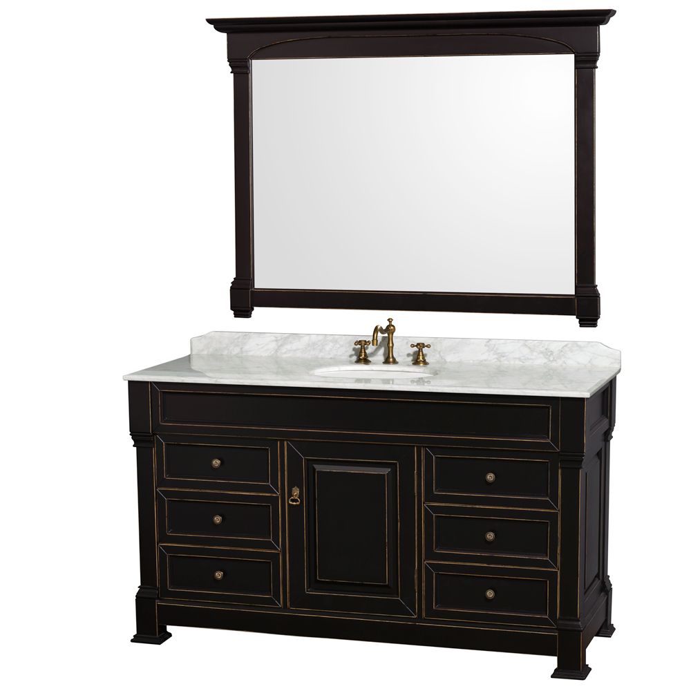 "Andover 60"" Single Bathroom Vanity in Black, Undermount Oval Sinks, and 56"" Mirror with Countertop Options"