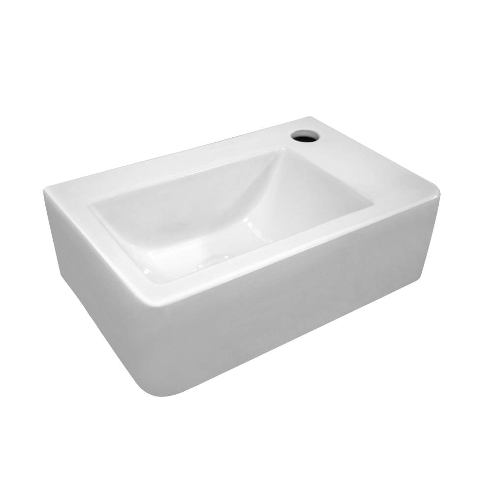 Isabella Collection Small Wall Mount Basin with a Single Faucet Hole on the Right and Center Drain