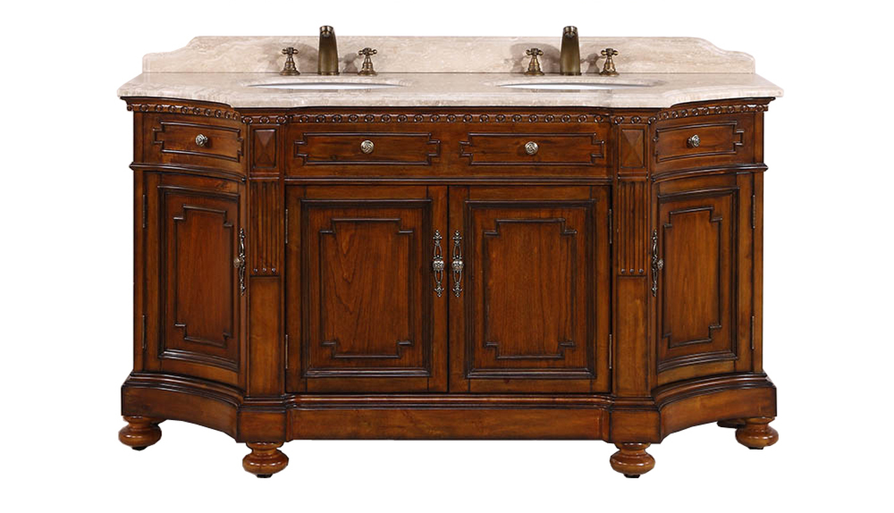 "68"" Double Sink Bathroom Vanity in Antique Brown Finish"