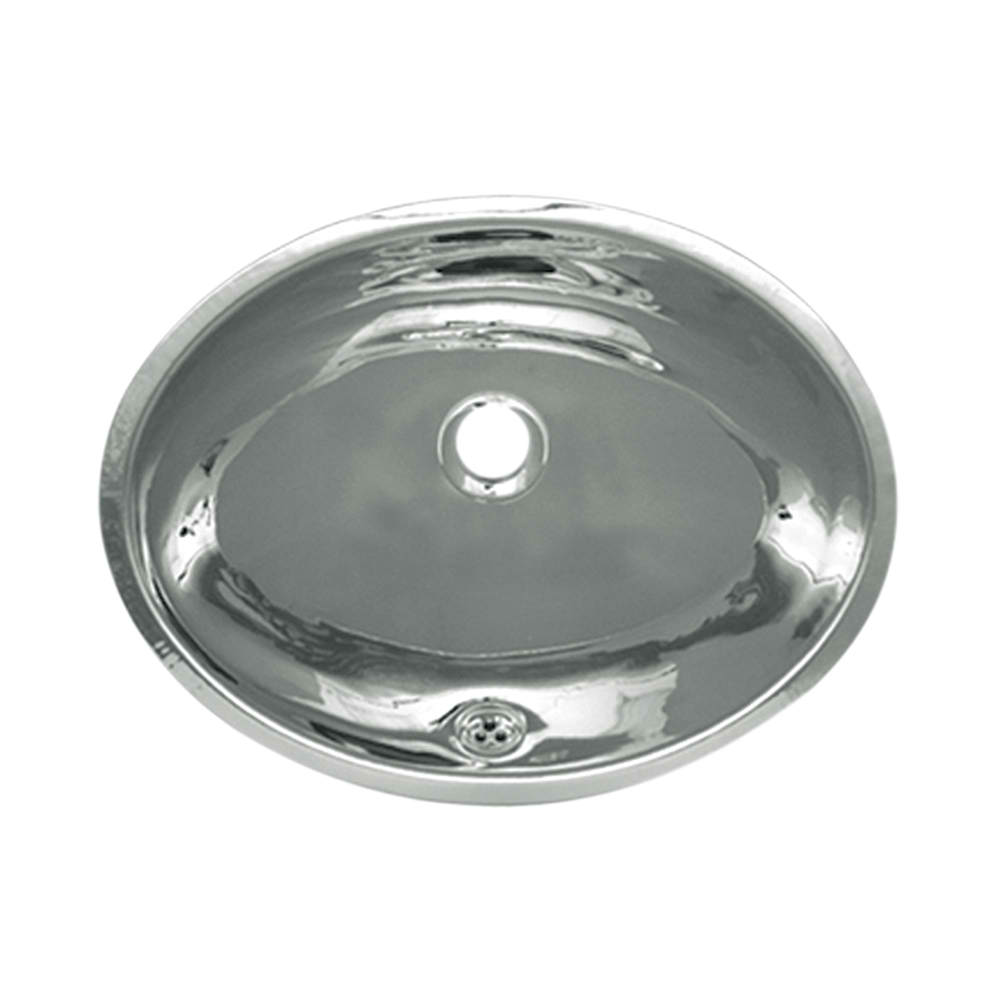 """Decorative Smooth Oval Undermount Basin with Overflow and a 1 1/4"""" Center Drain"""