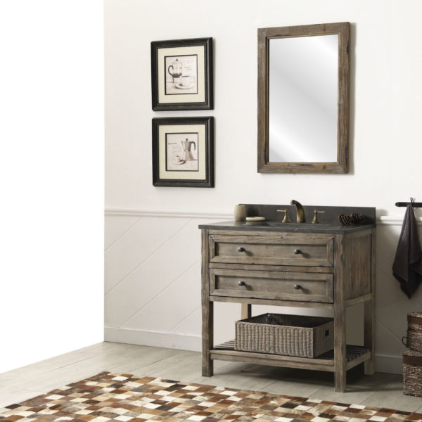 36 inch Rustic Modern Bathroom Vanity with Moon Stone Countertop