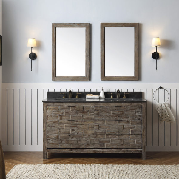 """Dora Soo Collection 60"""" Rustic Wood Double Sink Vanity Match with Marble Moon Stoner Top - No Faucet"""
