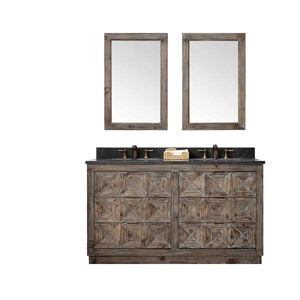 60 inch Handcrafted Solid Wood Double Sink Rustic Finish with Moon Stone Granite Top style bathroom sink vanity