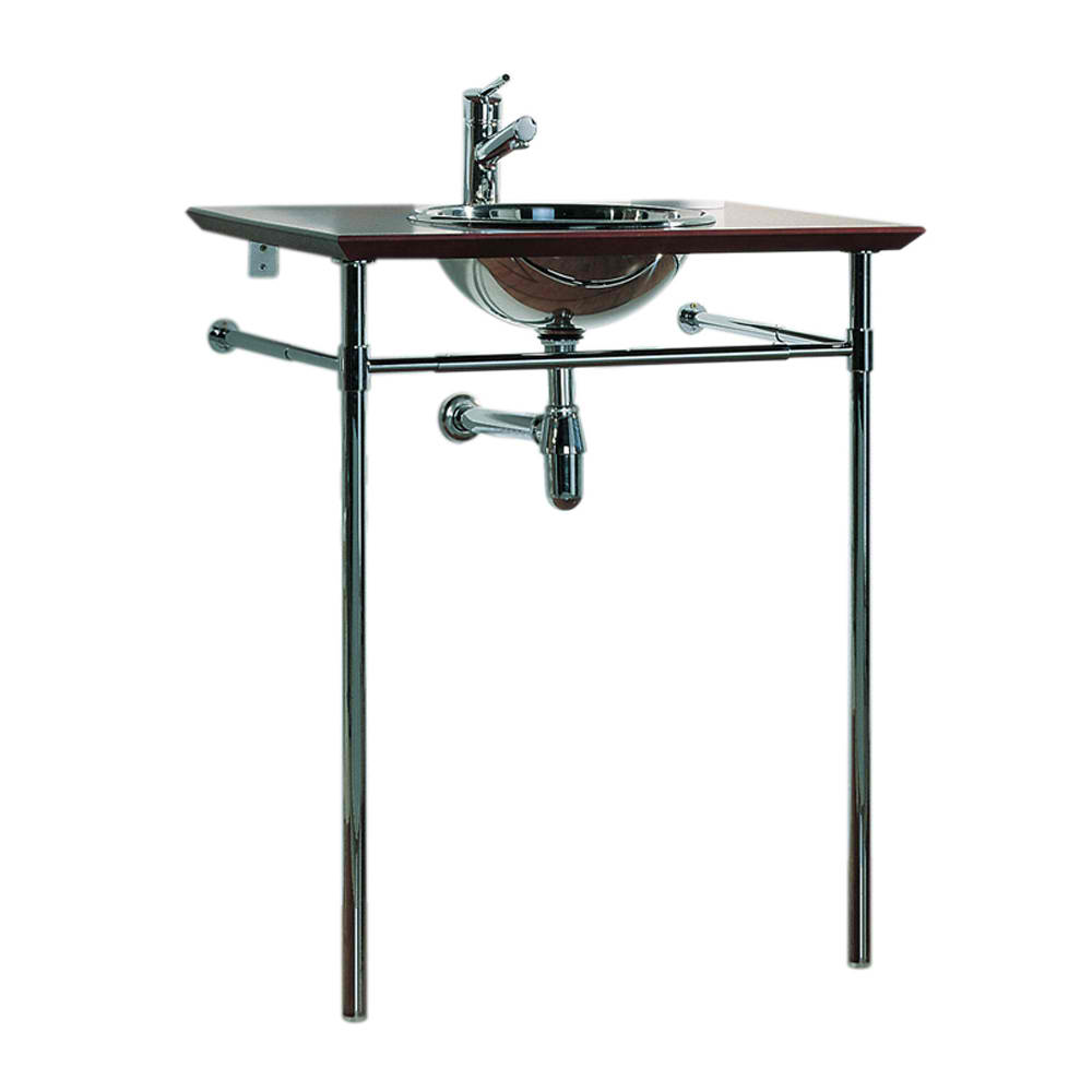 New Generation Exotic Bubinga Wood Counter Top with Mahogany Finish Includes: Polished Stainless Steel Drop-In Basin and Double Leg Supports with Attached Towel Bar