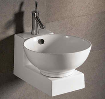 Isabella Collection Round Above Mount Basin with Overflow Center drain and Matching Wall Mount Base