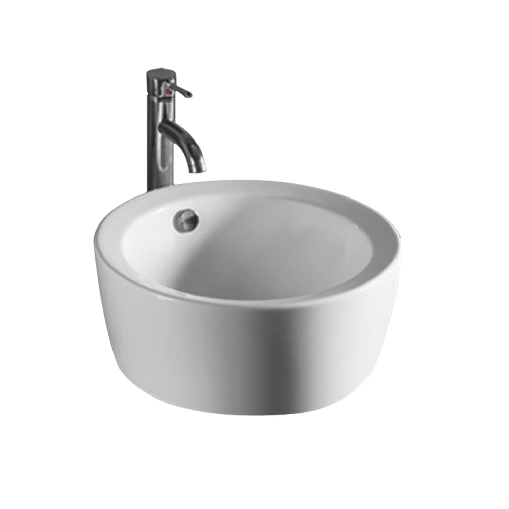 Isabella Collection Round Above Mount Basin with Overflow and Center Drain Available in White Only