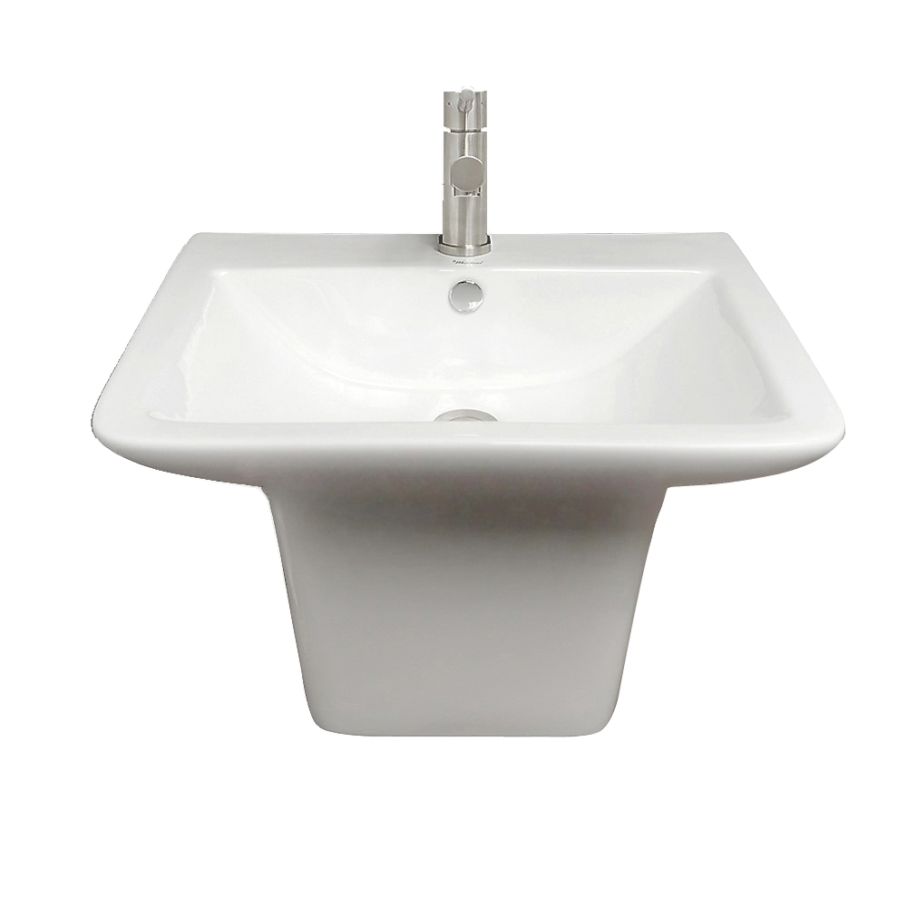 Isabella Collection Wall Mount Basin with Integrated Rectangular Bowl and a Center Drain