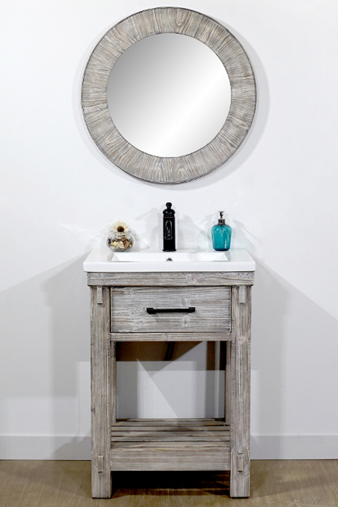 "24"" Rustic Solid Fir Single Sink Bathroom Vanity with Ceramic Top in Grey Driftwood Finish - No Faucet"
