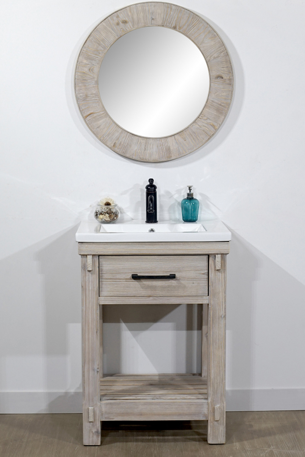 "24"" Rustic Solid Fir Single Sink Bathroom Vanity with Ceramic Top - No Faucet"