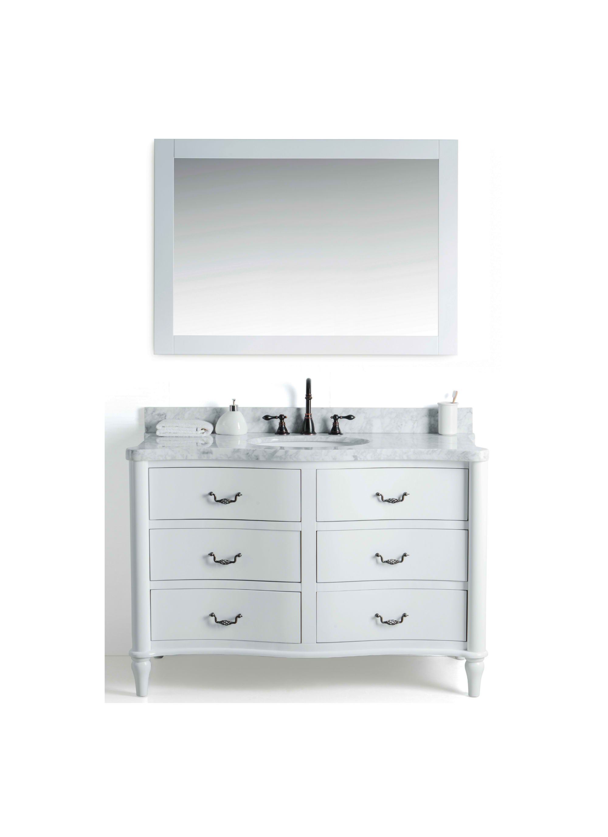 "48"" Single White Bathroom Vanity with White Carrara Marble Top"