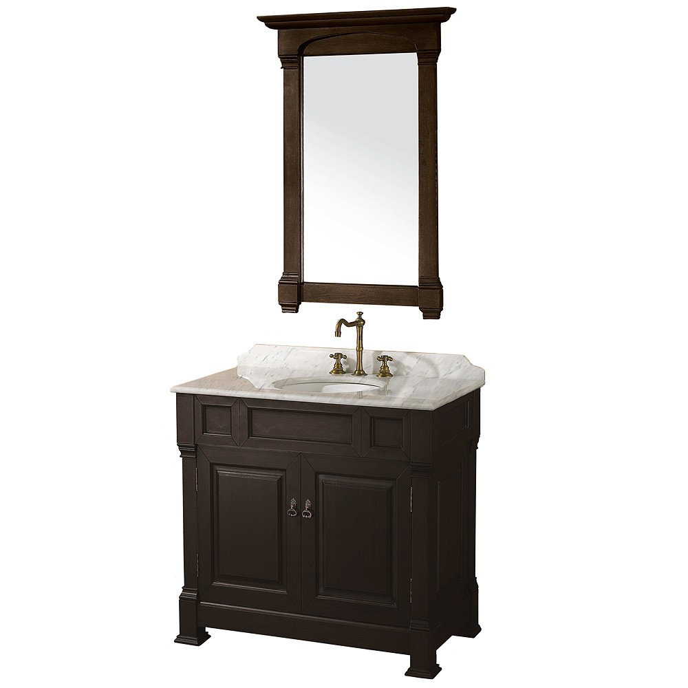 "Andover 36"" Single Bathroom Vanity in Dark Cherry, Undermount Oval Sink, and 28"" Mirror with Countertop Options"