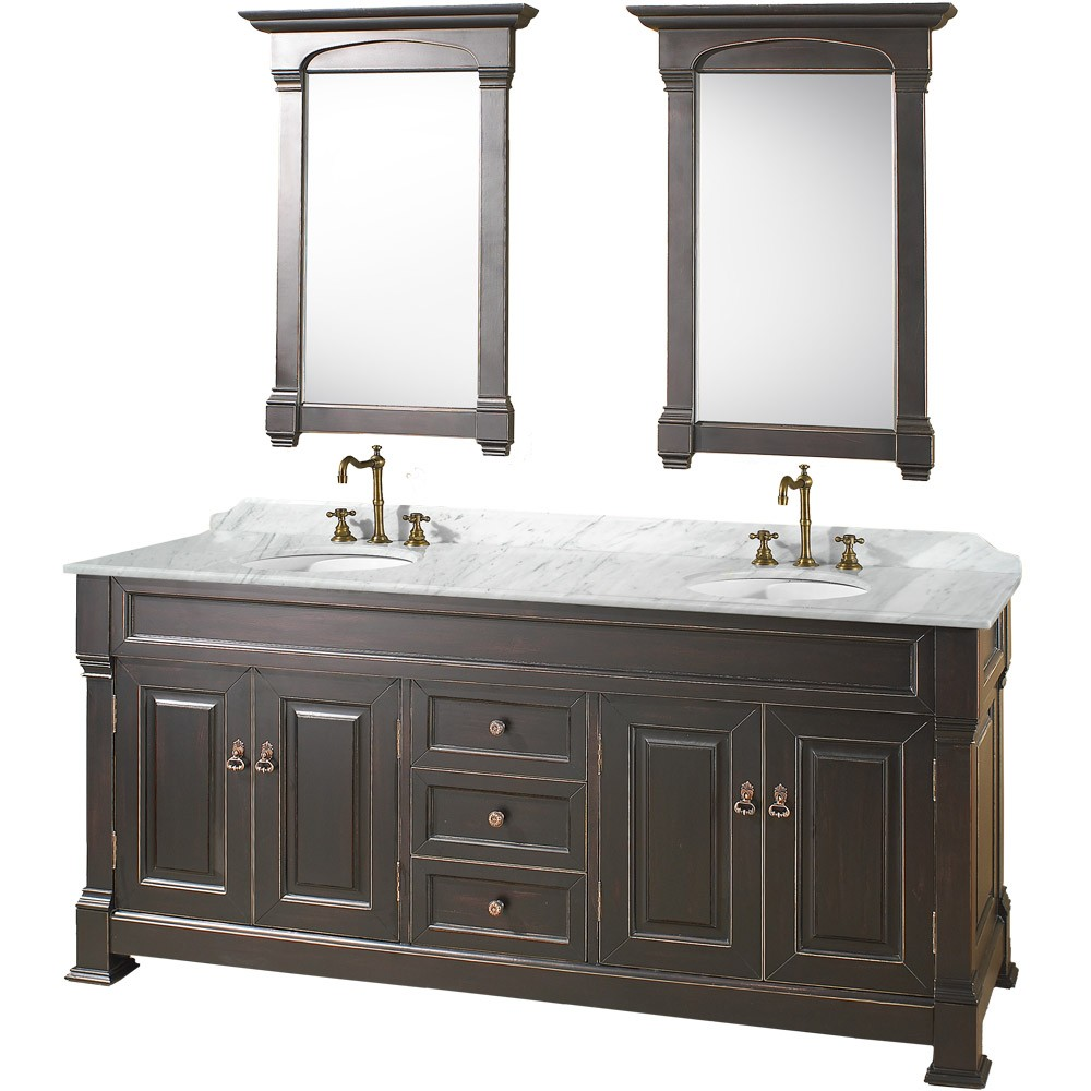 "Andover 72"" Double Bathroom Vanity in Black, Undermount Oval Sinks, and 28"" Mirrors with Countertop Options"
