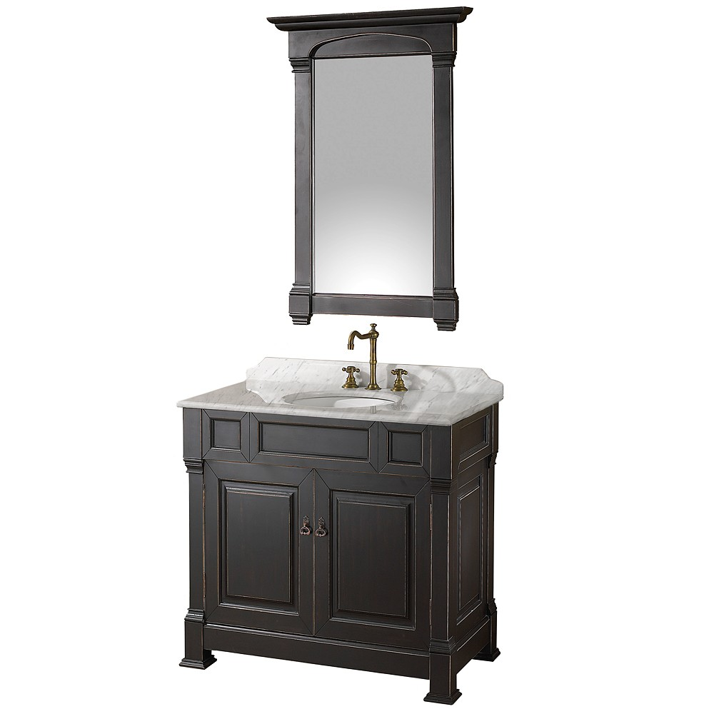 """36"""" Single Bathroom Vanity in Black, Undermount Oval Sink, and 28"""" Mirror with Countertop Options"""