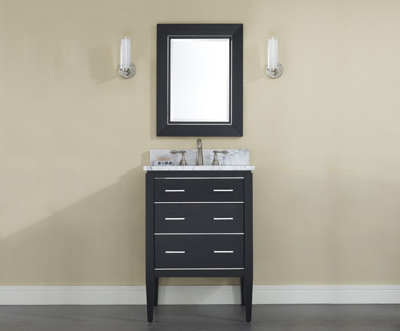 "24"" Contemporary Bathroom Vanity - Black Finish"