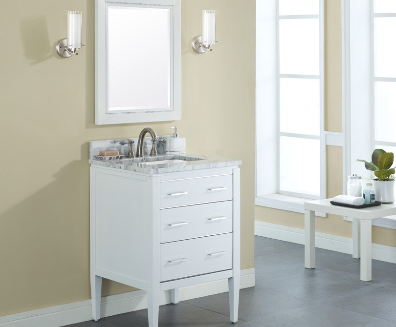 24 inch Contemporary Bathroom Vanity White Finish
