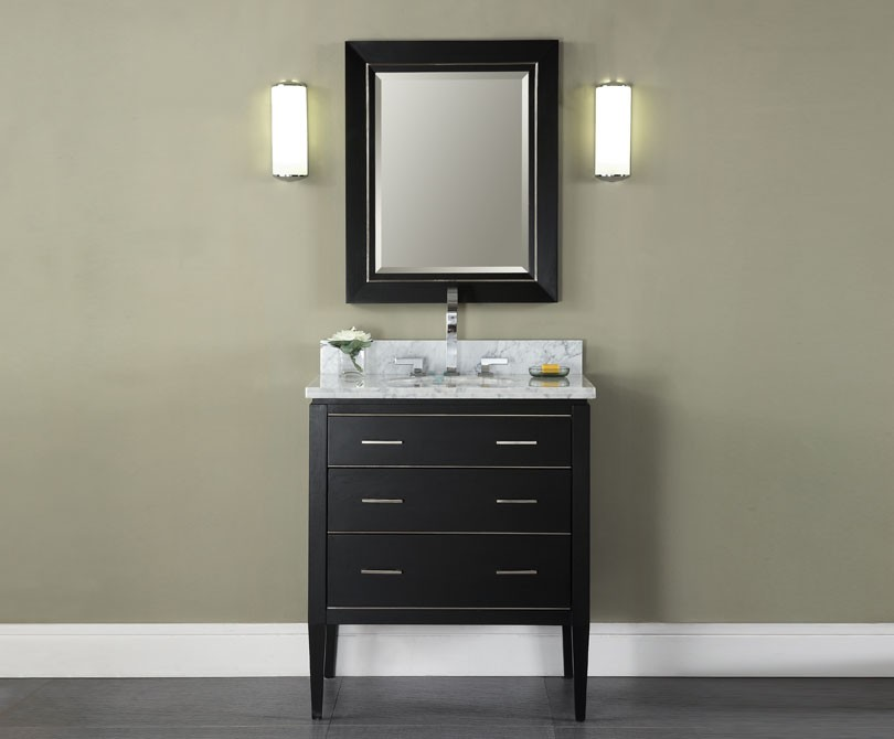 "30"" Contemporary Bathroom Vanity - Black Finish"
