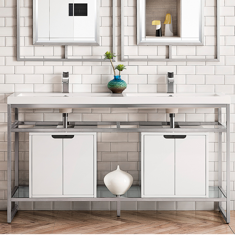 """James Martin Boston Collection 63"""" Stainless Steel Sink Console (Double Basins), Brushed Nickel"""