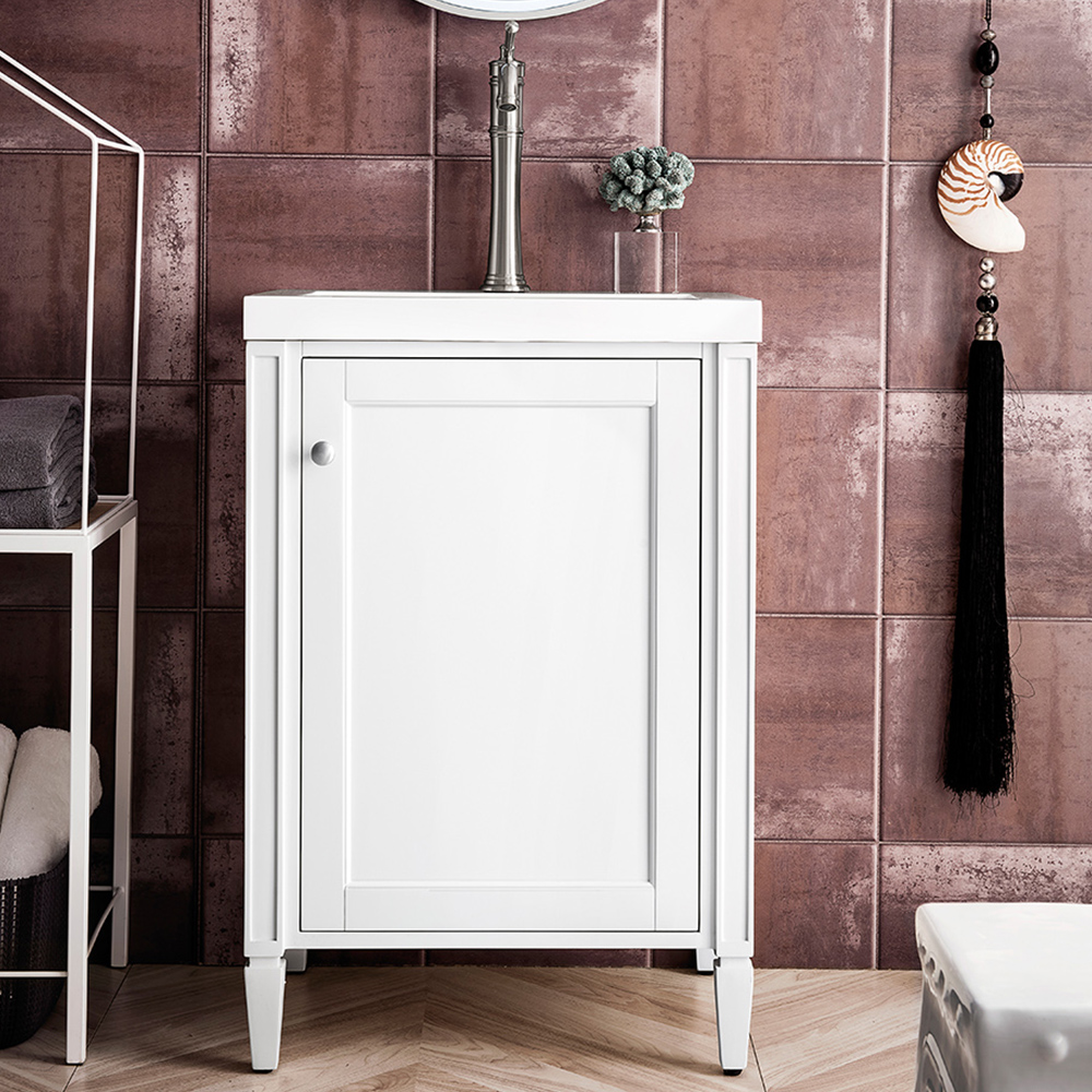 """James Martin Brittania Collection 24"""" Single Vanity Cabinet, Glossy White w/ White Glossy Resin Countertop"""