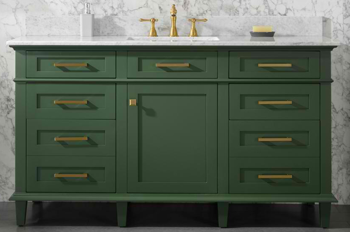 """60"""" Single Sink Vanity Cabinet Vogue Green Finish with Carrara White Top"""