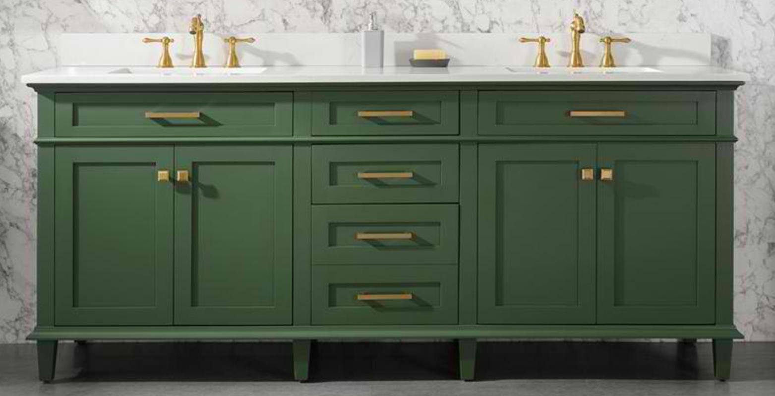 "80"" Vogue Green Double Sink Vanity Cabinet with Carrara White Quartz Top"