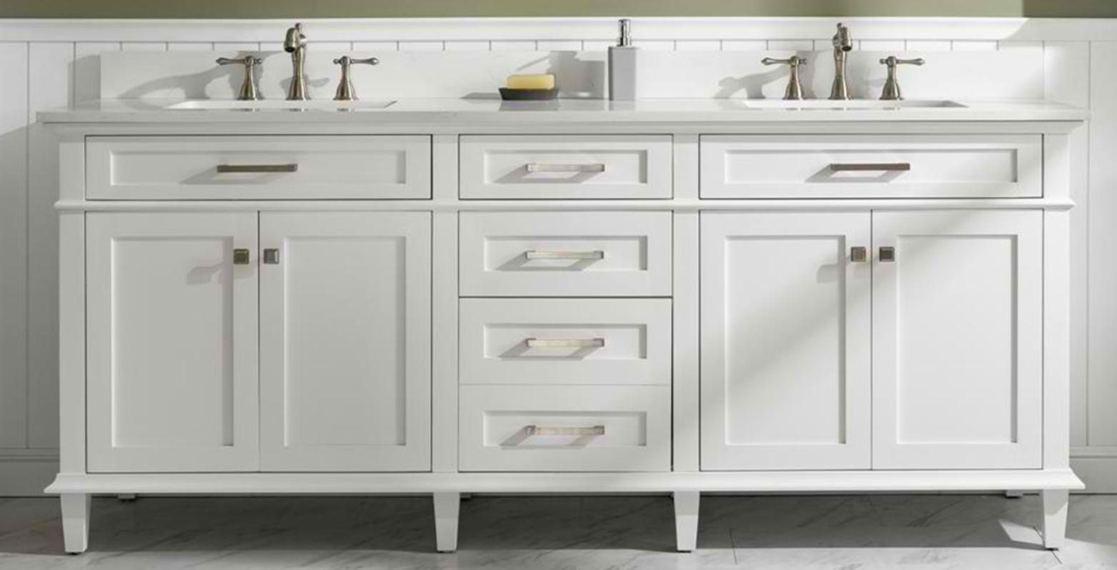 "80"" White Double Sink Vanity Cabinet with Carrara White Quartz Top"