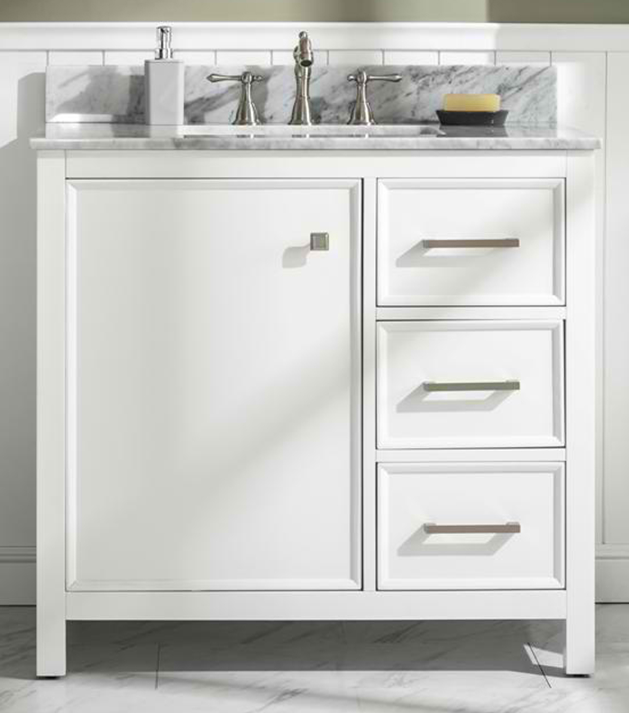 "36"" Blue Finish Sink Vanity Cabinet with Carrara White Top and Color Options"