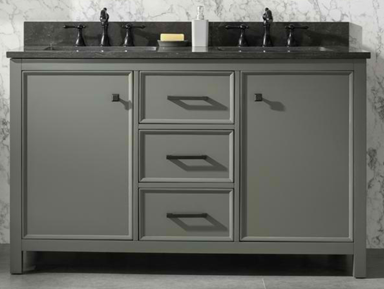 "54"" Pewter Green Finish Double Sink Vanity Cabinet with Blue Limestone Top"