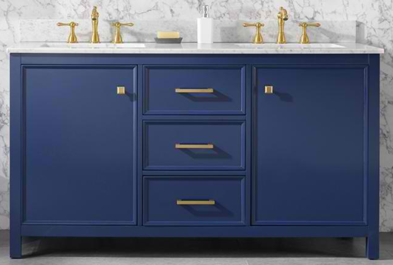 """60"""" Blue Finish Double Sink Vanity Cabinet with Carrara White Top"""