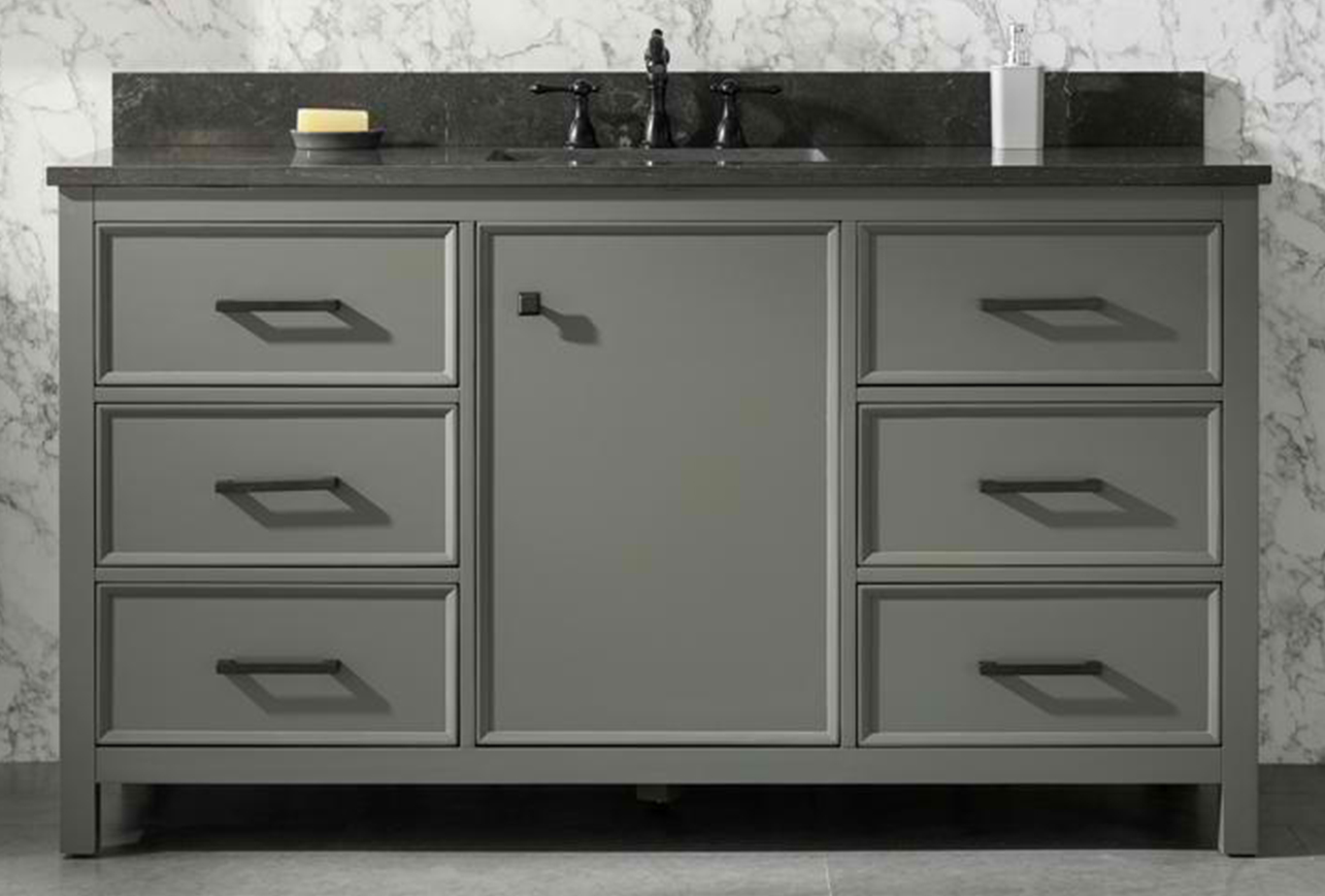 """60"""" Pewter Green Finish Single Sink Vanity Cabinet with Carrara White Top"""