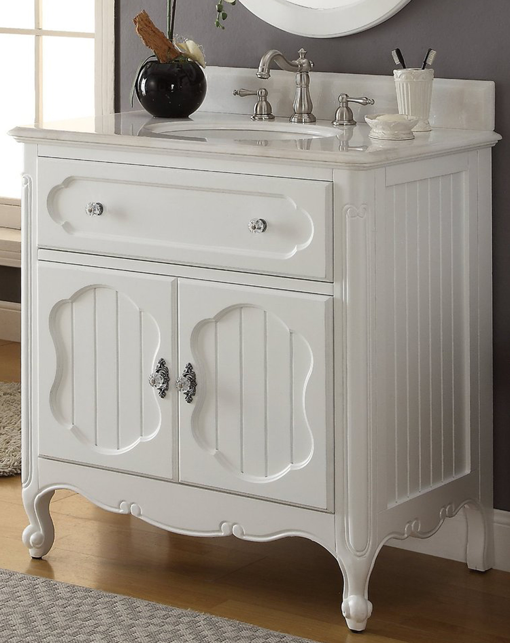 "34"" Single Sink Victorian Cottage Style Bathroom Vanity White Finish with White Marble Counter Top"