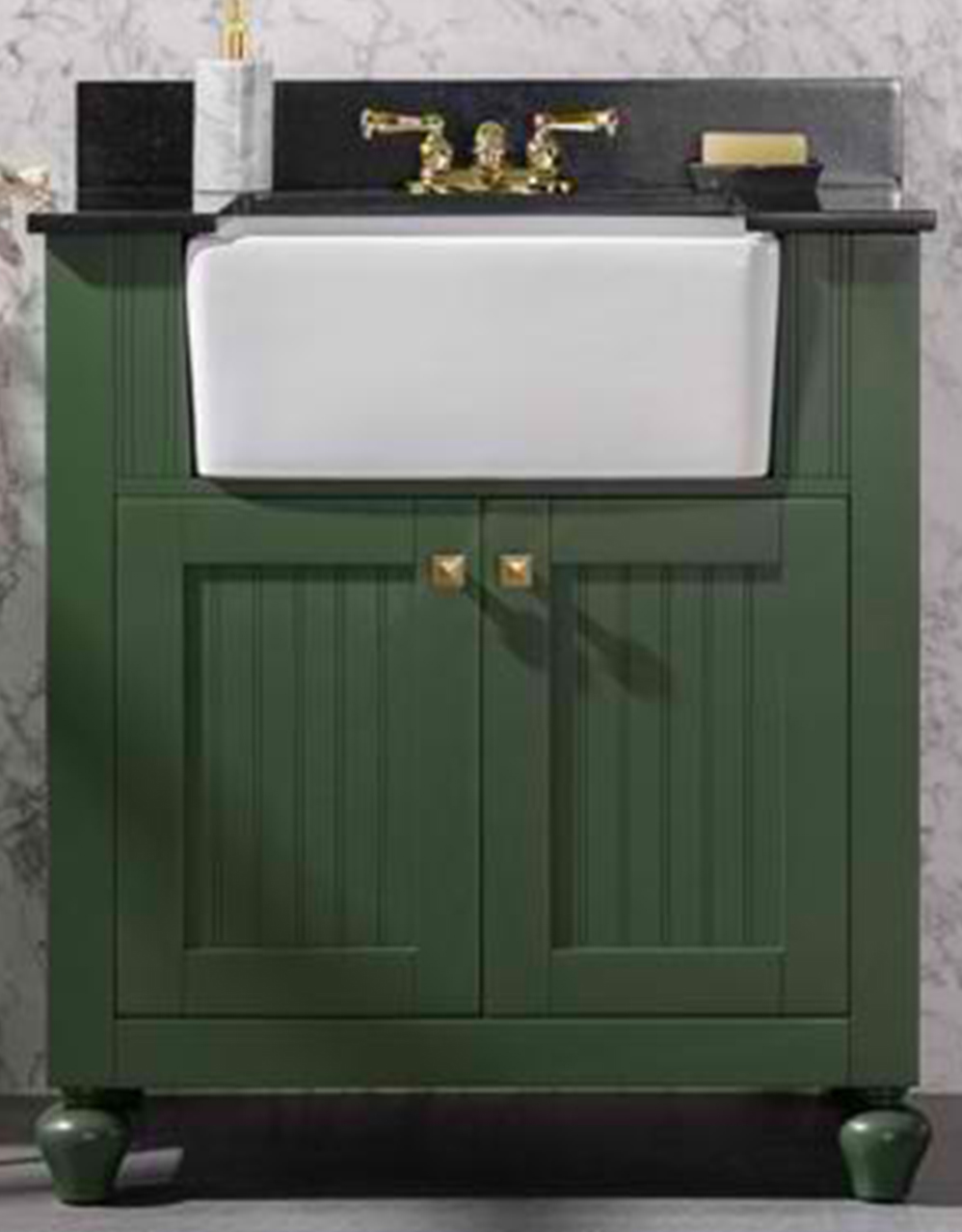 "30"" Vogue Green Finish Single Sink Vanity Cabinet with Black Granite Top"