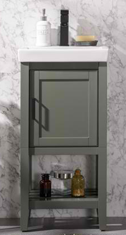 "17"" Pewter Green Single Sink Bathroom Vanity in Ceramic Top and White Ceramic Sink"