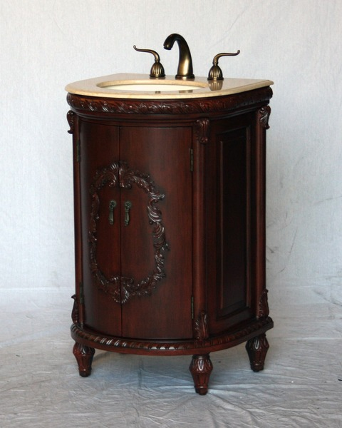 "22"" Adelina Antique Style Single Sink Bathroom Vanity Cherry Finish with Beige Stone Countertop"
