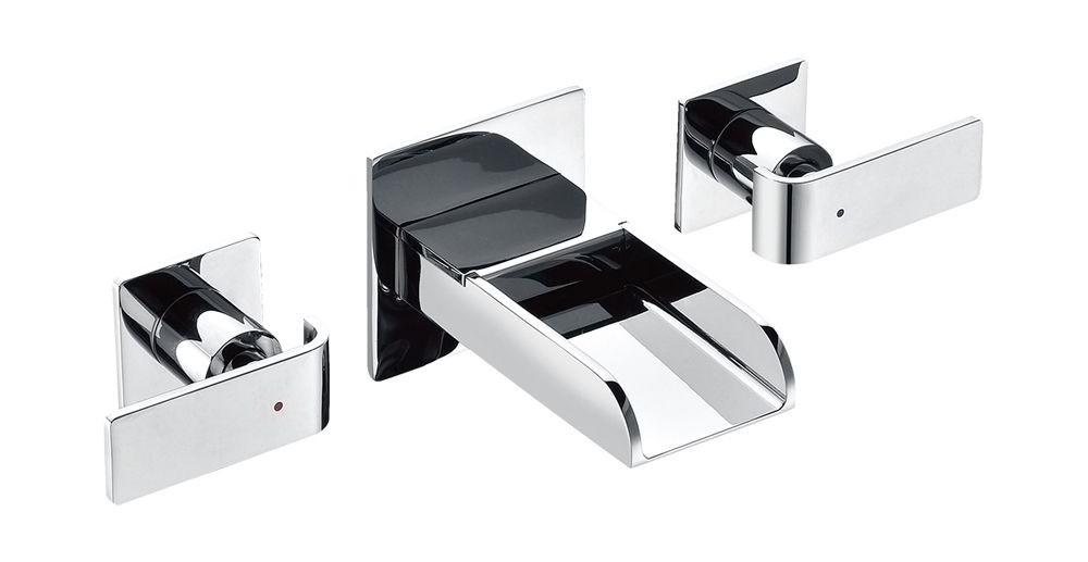 ALFI Brand AB1796 Brushed Nickel or Polished Chrome Widespread Wall Mounted Modern Waterfall Bathroom Faucet