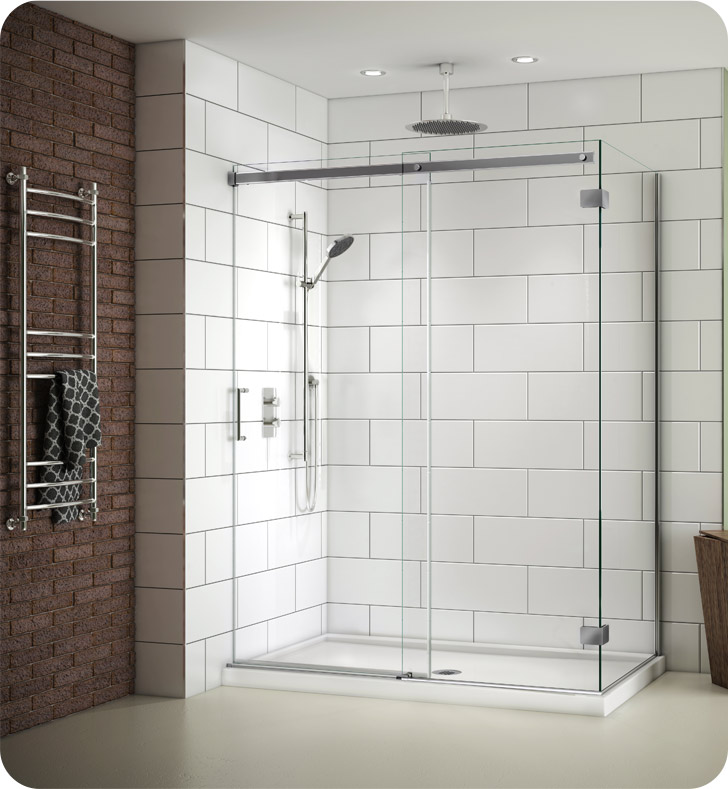 Fleurco Nova Apollo 2-Sided In-Line 48 Sliding Door and Fixed Panel with Return Panel (Closes against return panel)