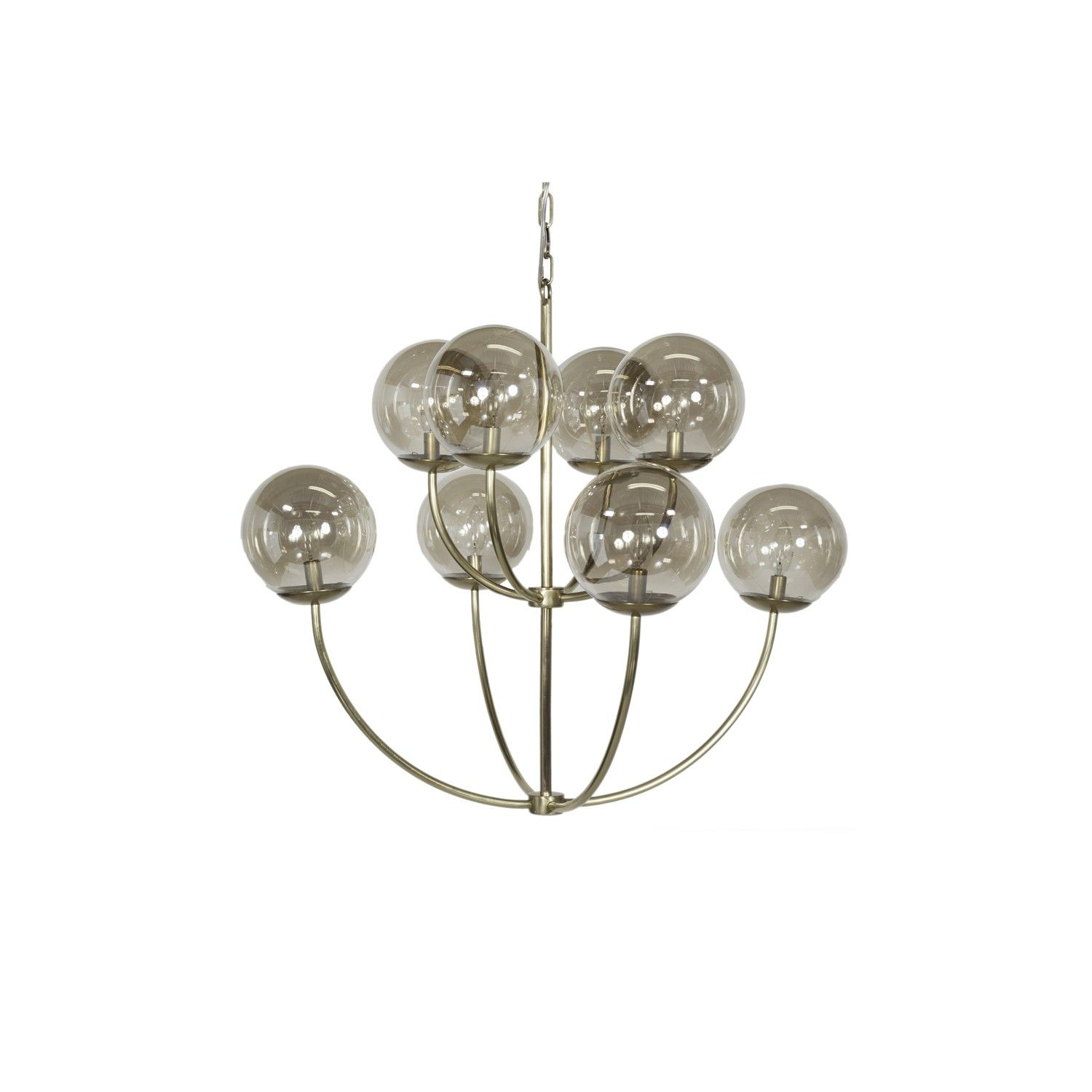 8 Arm Two Tier Chandelier with Clear Globes - Antique Brass or Nickel Option