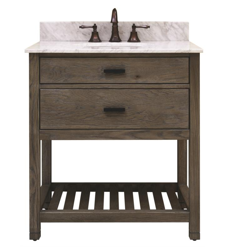 "Issac Edward Collections 30"" Free Standing Single Bathroom Vanity with Open Bottom Shelf in Taupe"