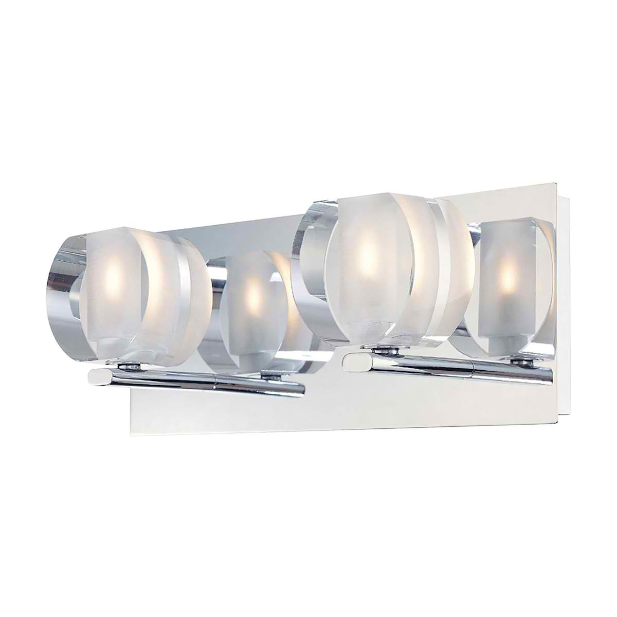 Circo Double Lamp with Rounded Inside Frosted Crystal Glass / Chrome Finish