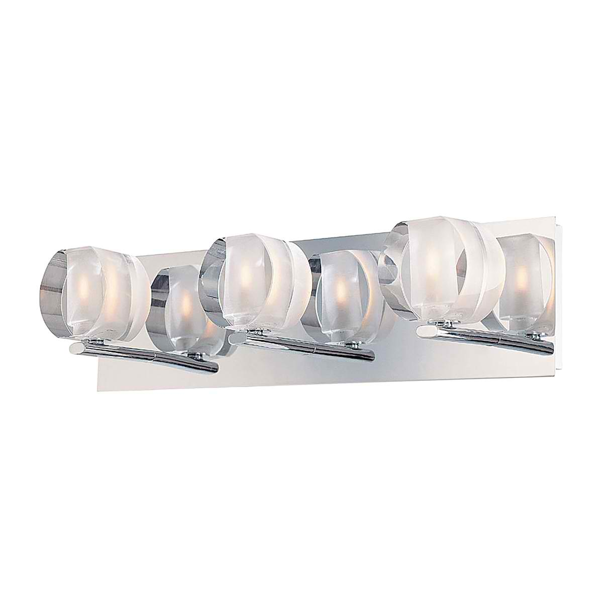Circo Triple Lamp with Rounded Inside Frosted Crystal Glass / Chrome finish