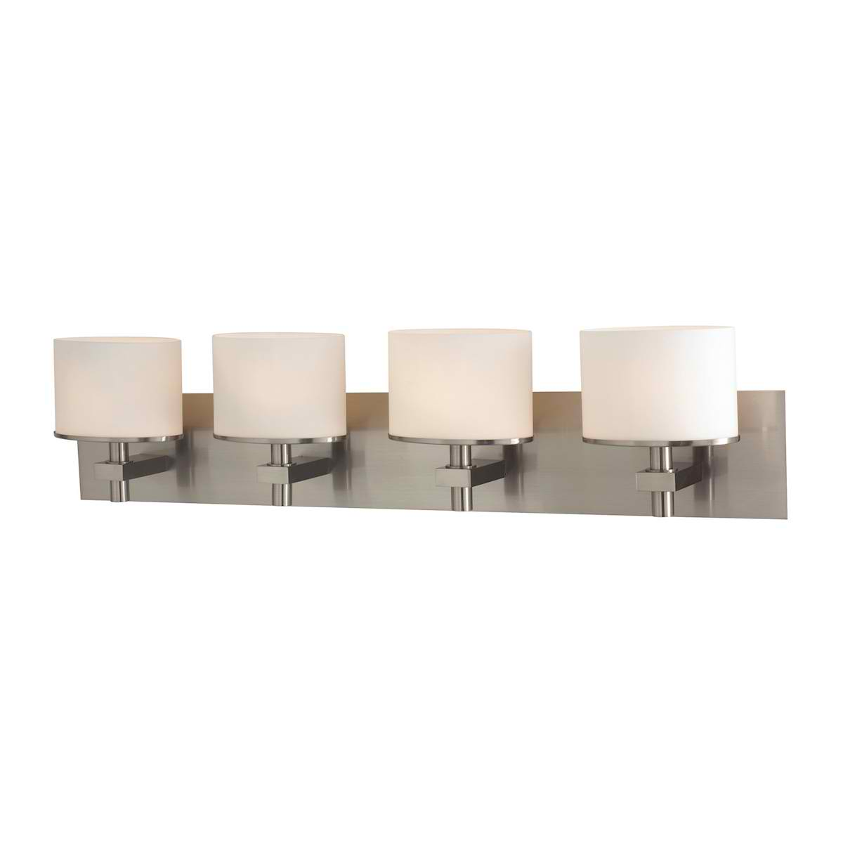 Ombra 4 Light Vanity in Satin Nickel and White Opal Glass