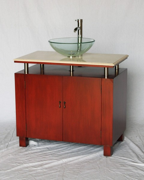 """36"""" Adelina Contemporary Style Single Sink Bathroom Vanity in Cherry Finish with Beige Stone Countertop and Round Clear Glass Vessel Sink"""