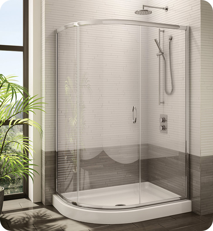 Fleurco Signature Capri Half Round Frameless Curved Glass Sliding Shower Door