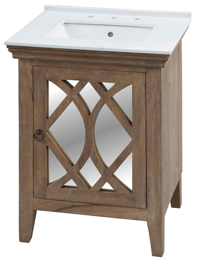 """Clearwater 26"""" Single Sink White Quartz with Grey Veining Clear Mango Finish Vanity with Top Option"""