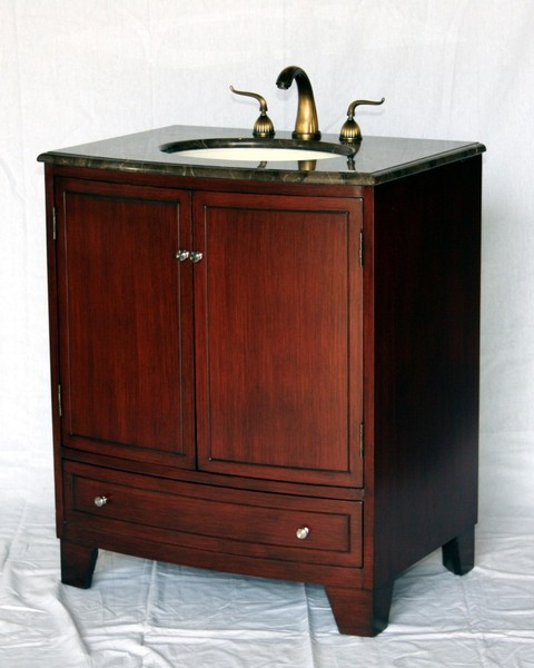 "30"" Adelina Contemporary Single Sink Bathroom Vanity in Cherry Finish with Light Brown Stone Countertop"